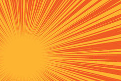 Yellow sun on a red background, pop art comic background Stock Image