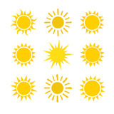 Yellow sun set icons  on white background. Yellow sun icon set  on white background. Modern simple flat sunlight, sign. Trendy vector summer symbol for website Royalty Free Stock Image