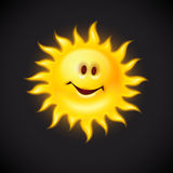 Yellow sun with smiling face Royalty Free Stock Image
