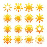 Yellow sun vector icons isolated on white background. Summer orange bright sun illustration Royalty Free Stock Images