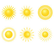 Yellow sun on a white background Stock Photography