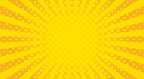 Yellow sunbeams halftone background. Vector illustration. Bright sunbeams background with yellow dots. Abstract background with halftone dots design. Vector Royalty Free Stock Image
