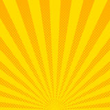 Yellow sunbeams halftone background. Vector illustration. Bright sunbeams background with yellow dots. Abstract background with halftone dots design. Vector Royalty Free Stock Images