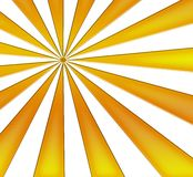 Yellow Sunburst. Yellow rays of light on a white background Royalty Free Stock Image