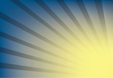 The yellow sunburst on blue background Royalty Free Stock Photos