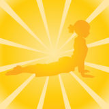 Yellow sunburst with yoga Stock Image