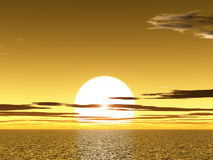 Yellow sunet above ocean Stock Image