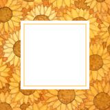 Yellow Sunflower Ball Watercolor Banner Card. Illustration.  stock illustration
