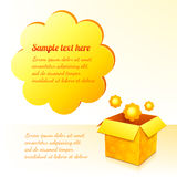 Yellow sunflowers box with text bubble Stock Images