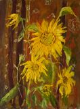 Yellow sunflowers on a brown background painted colors royalty free stock photos