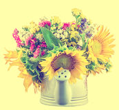 Yellow sunflowers and colored wild flowers in a white sprinkler, close up Stock Photo