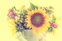 Yellow sunflowers and colored wild flowers in a white sprinkler, close up Stock Photography