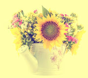 Yellow sunflowers and colored wild flowers in a white sprinkler, close up Royalty Free Stock Photography