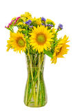 Yellow sunflowers in a transparent vase, close up, isolated, cutout Stock Image