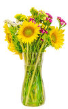 Yellow sunflowers in a transparent vase, close up, isolated, cutout Stock Photography