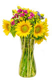 Yellow sunflowers in a transparent vase, close up, isolated, cutout Stock Photos