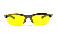 Yellow sunglasses. Front view. Yellow sunglasses. Isolated on white stock photos