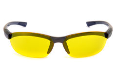 Yellow sunglasses. Front view. Yellow sunglasses Isolated on white royalty free stock images