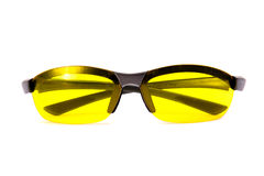 Yellow sunglasses. Front view. Yellow sunglasses Isolated on white stock photography