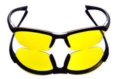 Yellow sunglasses. Front view. Stock Image