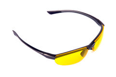 Yellow sunglasses. High angle view. Stock Image