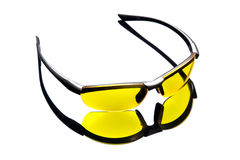 Yellow sunglasses. High angle view. Stock Images