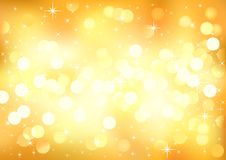 Yellow sunny festive lights. Vector  background. Stock Photography
