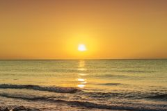 Yellow Sunset And Beach Stock Images