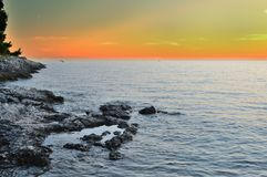 Yellow sunset in Croatia Stock Photography
