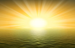 Yellow sunset an ocean Royalty Free Stock Photo
