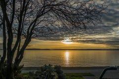 Yellow Sunset Over Puget Sound Stock Photos