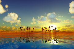 Yellow sunset over tropic sea Stock Photography