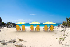 Yellow sunshade cove Royalty Free Stock Photography