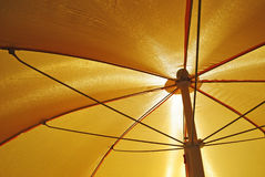 Yellow sunshade. Inside of a yellow parasol Royalty Free Stock Photos