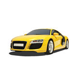 Yellow Super Car Isolated on the White Background Stock Images