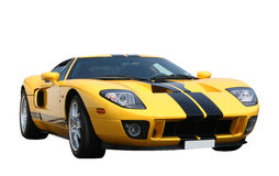 Yellow supercar. Bright yellow super car isolated on a white background Royalty Free Stock Photo