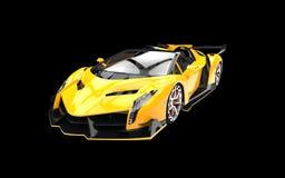 Yellow supercar on black background Stock Photos