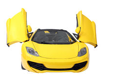 Yellow supercar isolated front view Royalty Free Stock Photo