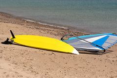 Yellow surfboard Royalty Free Stock Photo