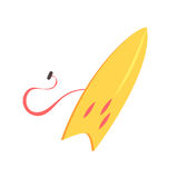 Yellow surfboard, sea extreme sport equipment cartoon vector Illustration Stock Photography