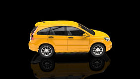 Yellow SUV in a Black Showroom Stock Image