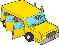 Yellow SUV With Broken Windshield Royalty Free Stock Photo
