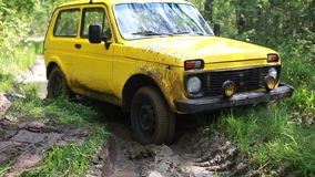 Yellow SUV got stuck in the mud in the forest, off-road stock video footage