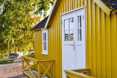 Yellow swedish style house Royalty Free Stock Photos