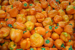 Yellow sweet pepper background. Yellow sweet pepper at a market stall Stock Image