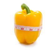 Yellow sweet pepper with tape line Stock Photo