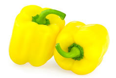 Yellow sweet peppers. Isolated on a white background royalty free stock photo