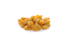 Yellow sweet raisins on white Royalty Free Stock Photography