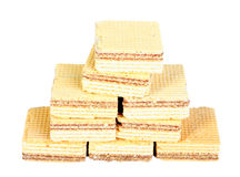 Yellow sweet waffles Stock Photography