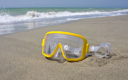 Yellow swimming mask Royalty Free Stock Images